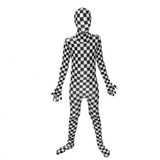 Black and White Check Kids Morphsuit