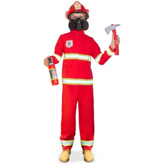 Kids Red Fire Fighter Costume
